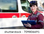 paramedic female with clipboard ... | Shutterstock . vector #709806691