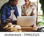 bread shop bake dough flour... | Shutterstock . vector #709812121