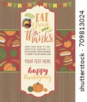 happy thanksgiving day greeting ...   Shutterstock .eps vector #709813024