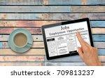 online job hunting hand with... | Shutterstock . vector #709813237
