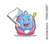 with flag school bag character... | Shutterstock .eps vector #709815007