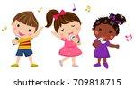children singing | Shutterstock .eps vector #709818715