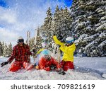 happy family enjoying winter... | Shutterstock . vector #709821619