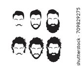 hipster vector set  hair and... | Shutterstock .eps vector #709829275