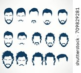 hipster vector set  hair and... | Shutterstock .eps vector #709829281