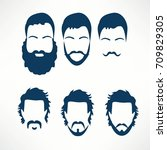 hipster vector set  hair and... | Shutterstock .eps vector #709829305
