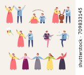 korea traditional play vector... | Shutterstock .eps vector #709833145