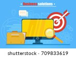 business solutions banner or... | Shutterstock .eps vector #709833619