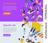 sport people in gym healthy... | Shutterstock .eps vector #709836301