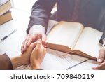 client and lawyer have a sit... | Shutterstock . vector #709840219