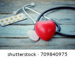 close up red heart  stethoscope ... | Shutterstock . vector #709840975