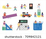 children studying various... | Shutterstock .eps vector #709842121