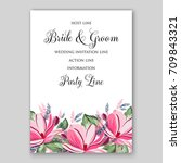magnolia flowers for bridal... | Shutterstock .eps vector #709843321