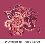 flower pattern bright abstract... | Shutterstock .eps vector #709843705