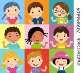 Vector illustration set of different kids with various postures | Shutterstock vector #709846609