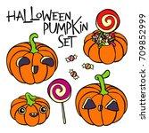 halloween pumpkins. set.... | Shutterstock .eps vector #709852999