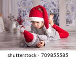cute little boy  playing with... | Shutterstock . vector #709855585