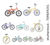 collection of bikes with... | Shutterstock .eps vector #709859251
