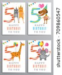 happy birthday. set of birthday ... | Shutterstock .eps vector #709860547