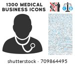 physician grey vector icon with ... | Shutterstock .eps vector #709864495