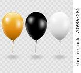 set. air balls. gold. black.... | Shutterstock .eps vector #709867285