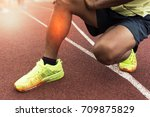 leg pain from exercise  ... | Shutterstock . vector #709875829
