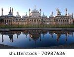 sunset over royal pavillion of...