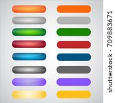 set of colorful glossy pressed... | Shutterstock .eps vector #709883671