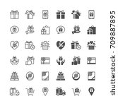 gift icons  included normal and ... | Shutterstock .eps vector #709887895