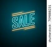 sale neon sign. vector... | Shutterstock .eps vector #709888231