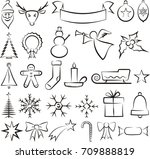 christmas icons and symbols  ... | Shutterstock .eps vector #709888819