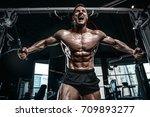 brutal handsome caucasian... | Shutterstock . vector #709893277