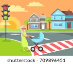 grey hair lady with braid going ...   Shutterstock .eps vector #709896451
