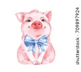 Funny Pig And Blue Bow....