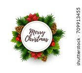 christmas background. vector... | Shutterstock .eps vector #709913455