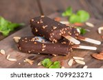 ice cream covered with... | Shutterstock . vector #709923271