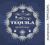 vintage tequila banner or... | Shutterstock .eps vector #709923691