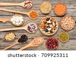 collection set of natural beans ... | Shutterstock . vector #709925311