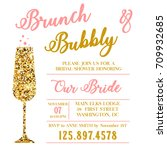 brunch and bubbly bridal shower   Shutterstock . vector #709932685
