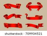 vector red ribbons.ribbon... | Shutterstock .eps vector #709934521