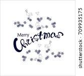 dark blue lettering merry... | Shutterstock .eps vector #709935175
