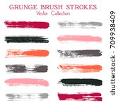Watercolor, ink or paint brush stroke lines color combinations catalog design elements. Vector isolated ink traces, retro paint dabs, smudges, grunge brush stripes, paint daubs strokes set.