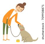 young woman mama walk with a dog | Shutterstock .eps vector #709938871