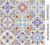 collection of 9 ceramic tiles... | Shutterstock .eps vector #709939501