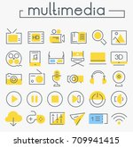 multimedia linear icons... | Shutterstock .eps vector #709941415