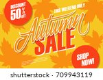 autumn sale. this weekend... | Shutterstock .eps vector #709943119