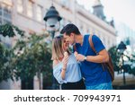 romantic couple | Shutterstock . vector #709943971