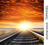 railway to sunset - stock photo