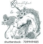 beautiful unicorn with young... | Shutterstock .eps vector #709949485