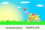 vector vehicle with balloons on ... | Shutterstock .eps vector #70995193
